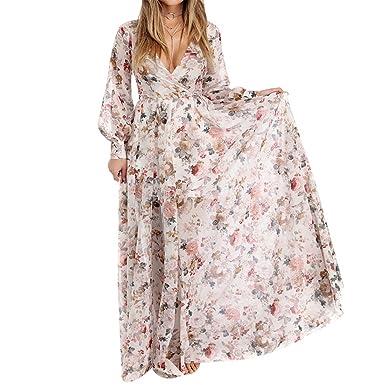 Rmesor Summer Style Tunic Dress Women Long Sleeve Boho Beach Party Sundress Vestidos Floral Printed Maxi Long Sexy Dress at Amazon Womens Clothing store: