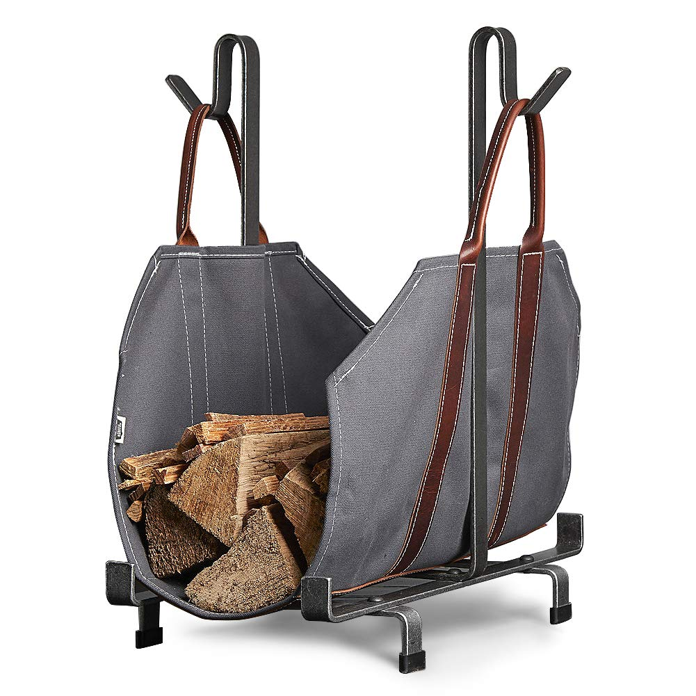 Sarissa Canvas Firewood Log Carrier Tote Carrying Bag Sturdy Fire Wood Holder with Handles, Grey Fireplace Stove Accessories Not Include Metal Rack by Sarissa