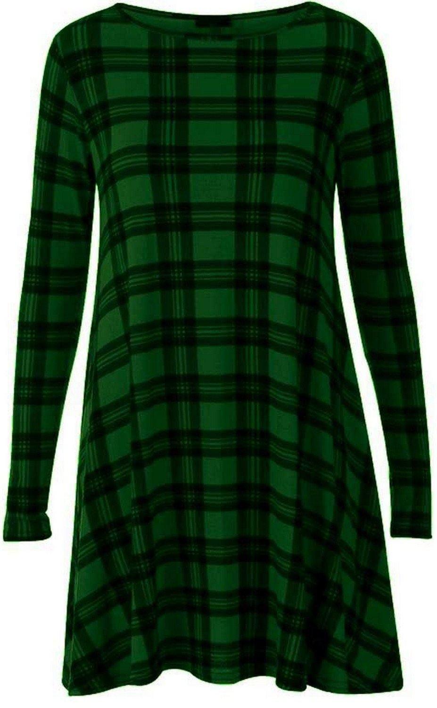 New Womens Plus Size Tartan Swing Dress Check Block Leggings 16-26(green dress ,12-14)