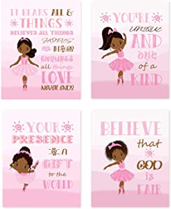 4PCs African American Girls Poster Black Girl Canvas Wall Art Prints Pink Ballet Unframed Inspirational Gifts for Bedroom/Home Decor 8x10 inches-01