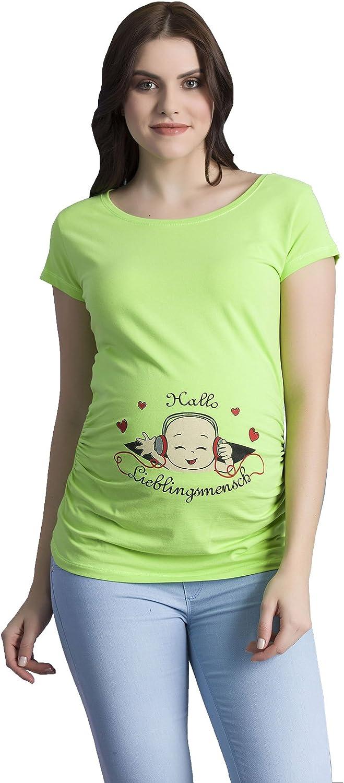 Hallo Lieblingsmensch - Ropa premamá Divertida y Adorable, Camiseta con Estampado, Regalo Durante el Embarazo, Manga Corta
