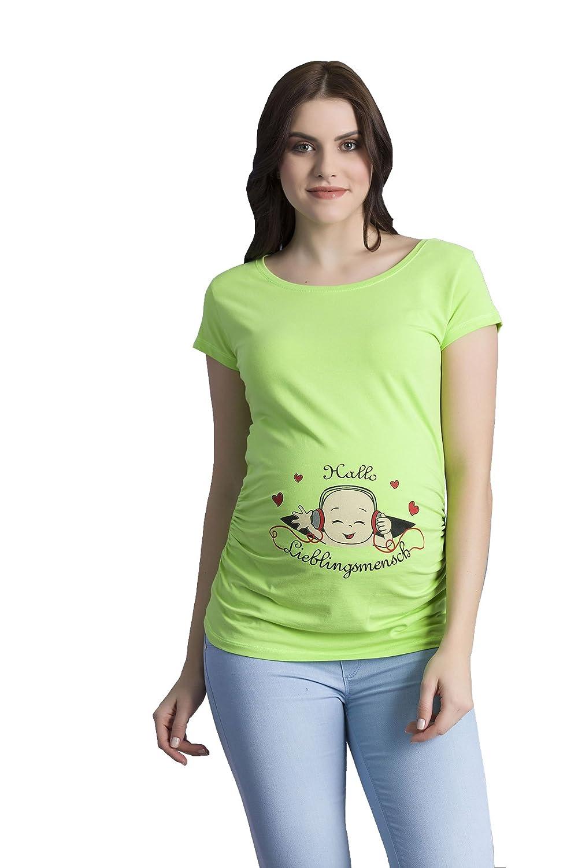 TALLA L. Hallo Lieblingsmensch - Ropa premamá Divertida y Adorable, Camiseta con Estampado, Regalo Durante el Embarazo, Manga Corta