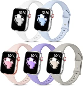 5 Pack Sport Slim Bands Compatible with Apple Watch Bands 38mm 40mm 42mm 44mm Women Men,Thin Silicone Soft Replacement Strap Wristband for iWatch Series 6 5 4 3 2 1 SE(38MM/40MM,Color4)