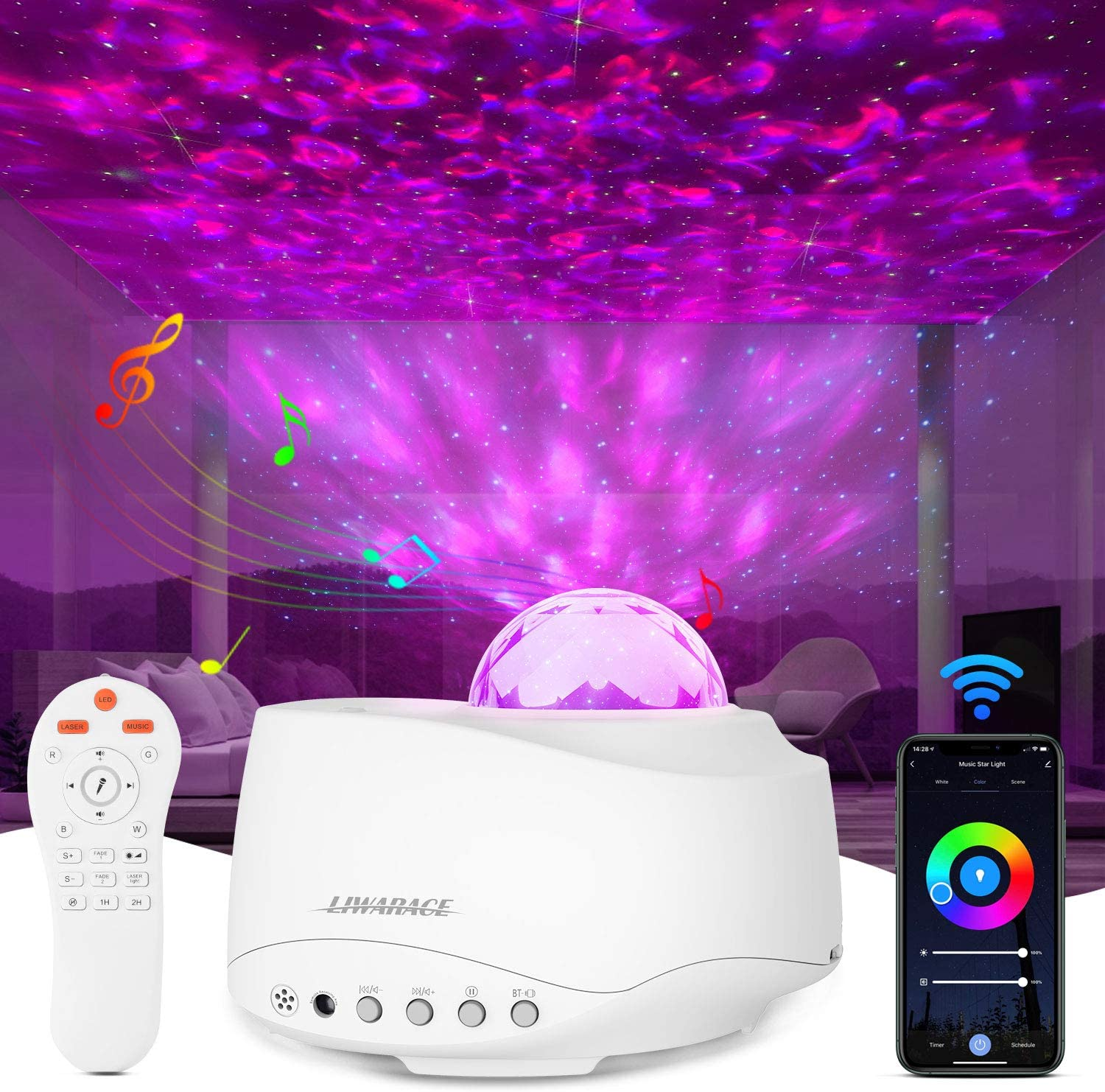 Star Projector Night Light,Htwon Galaxy Projector for Kids Bedroom Adults with Music Speaker & Remote Control Work with Alexa Google Home Nebula Sky Light Projector for Ceiling