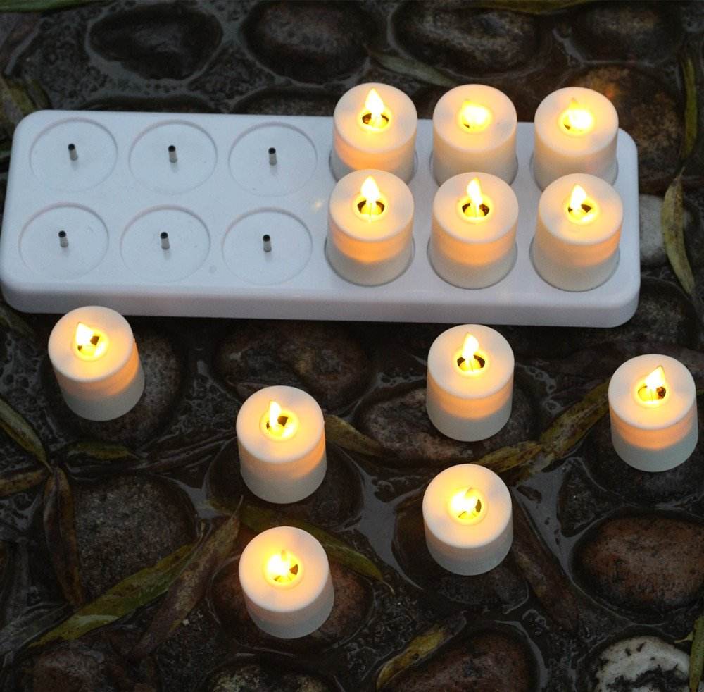 NONNO&ZGF 3D LED Dancing Light Votive Candles with Rechargeable Base and Remote - Set of 12 by NONNO&ZGF (Image #5)