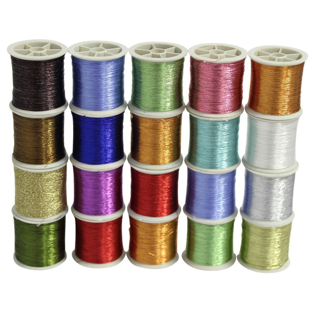 20 different Colours 20 Metallic Embriodery Spools