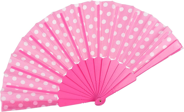 Spanische Art 23 cm lang rosa Bahia Vista F/ächer//Handf/ächer Polka Dots 43 cm