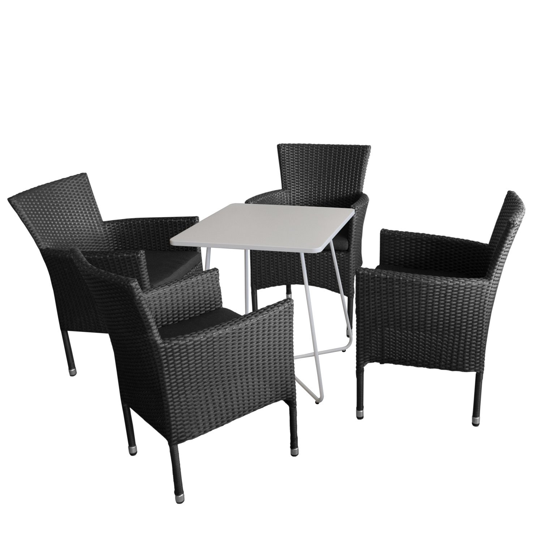 Balkonmöbel Set Bistrotisch, Metall, 60x60cm, Weiß + 4x Rattansessel  Stapelbar Inkl