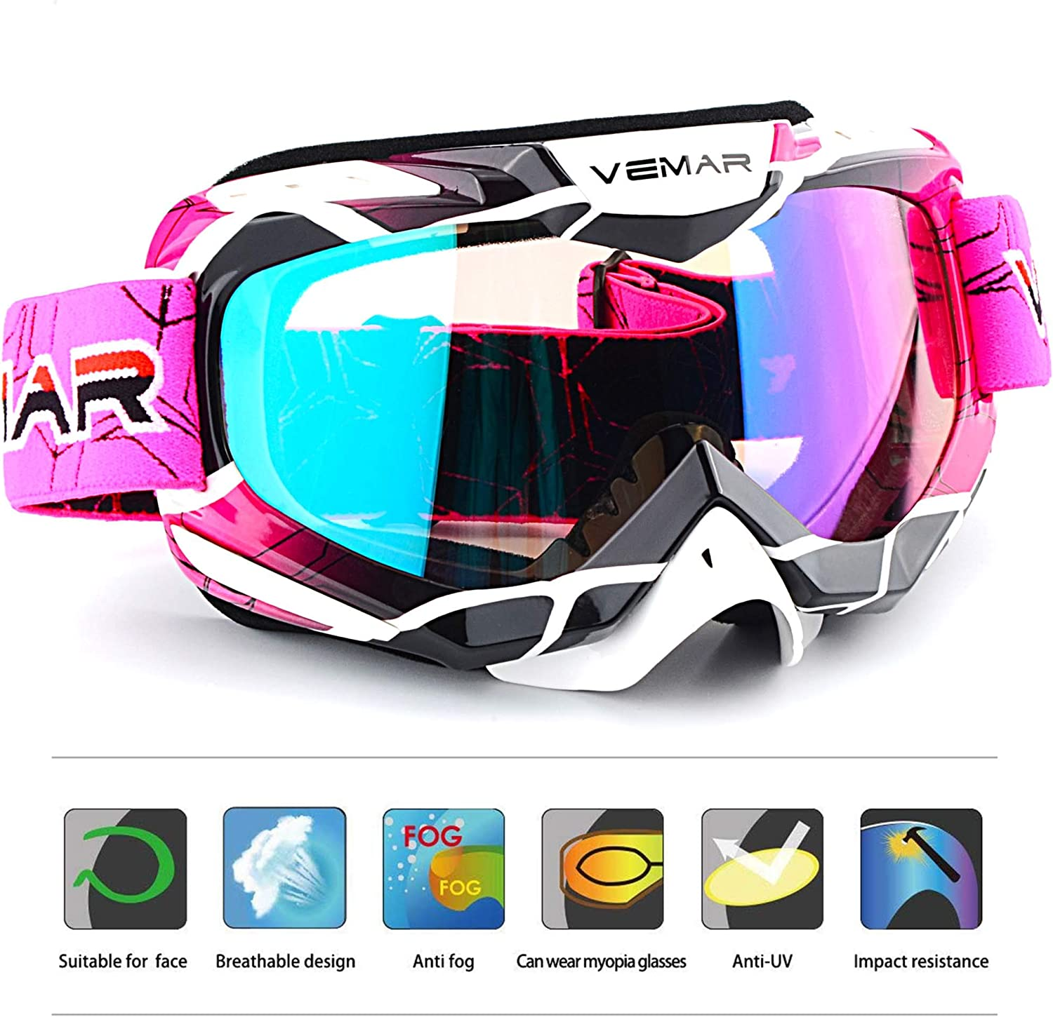 Bendable Windproof Dustproof Scratch Resistant Protective Safety Glasses Blue Polarized Sport Motorcycle Motocross Goggles ATV Racing Goggles Dirt Bike Tactical Riding Motorbike Goggle Glasses