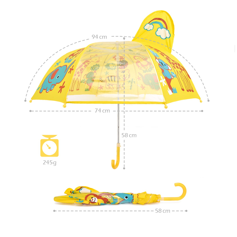 Rainbrace Paraguas manual infantil para niños-ventana transparente,amarillo: Amazon.es: Equipaje