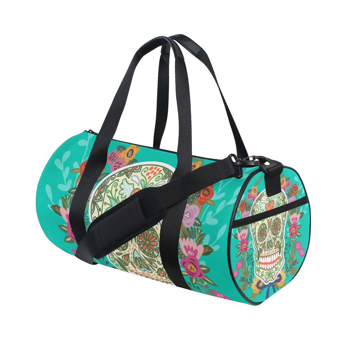 Sugar Skull Dia De Los Muertos Travel Duffel Shoulder Bag, Sports Gym Fitness Bags