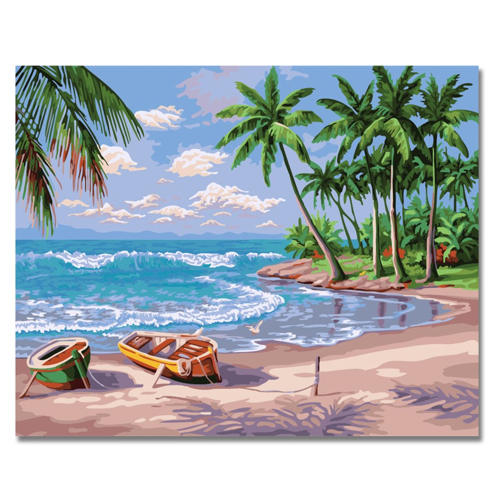 RIHE DIY Oil Painting Paint by Numbers Kits Mounted on Wood Frame with Brushes Acrylics Painting Kits on Canvas for Adults Kids Beginner - Sunny Beach 16x20 Inch(Wooden Framed) by RIHE