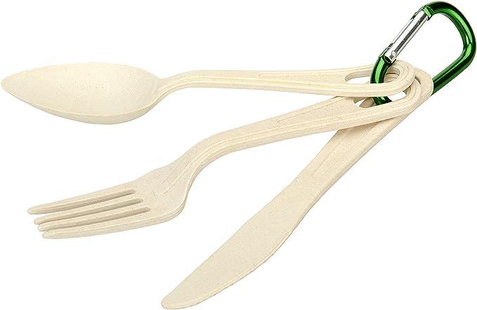 OZtrail Set de Cubiertos de Bambu. Biodegradables. Tenedor, Cuchara y Cuchillo Picnic y Acampada. Viene con mosquetón. 17cm de Largo. OCP-BAMCS-D