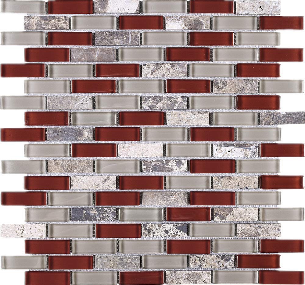 TBCDG-06 Cherry Red Mix Gray Brick Glass Mosaic Tile (10 Sheets)