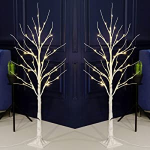 Bolylight 2 Packs LED Birch Tree 4ft 48L LED Christmas Decorations Lighted Tree Decor for Bedroom/Party/Wedding/Office/Home Outdoor and Indoor Use Warm White