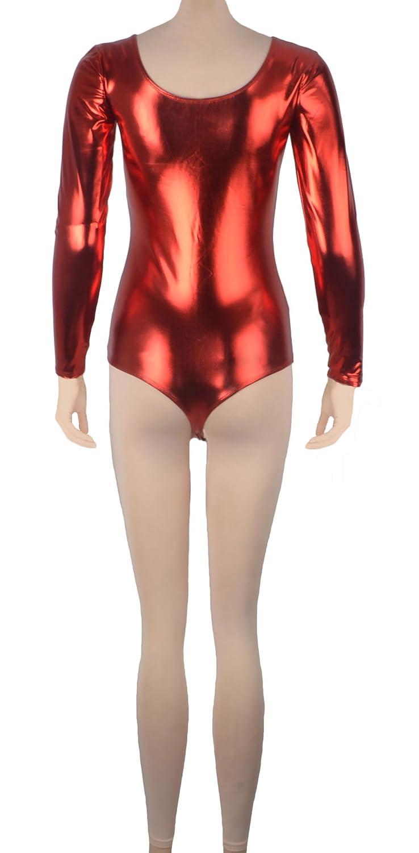 Howriis Unisex Shiny Metallic Long Sleeve Bodysuit Catsuit Dancewear
