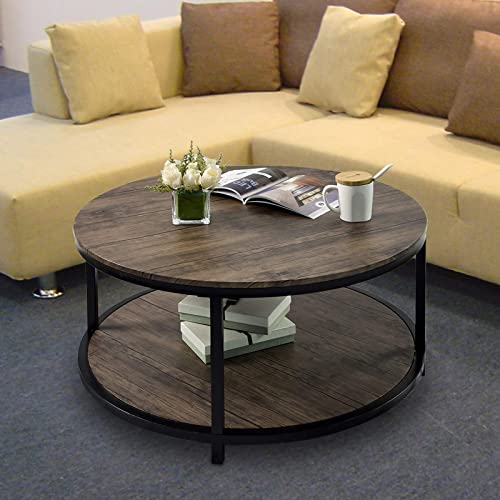 Round Coffee Table Rustic Vintage Industrial Design Furniture Sturdy Metal Frame Legs Sofa Table Cocktail Table