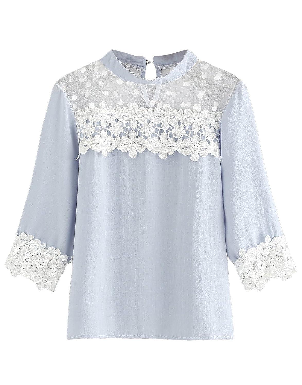 Light bluee Floerns Women's Casual Corchet 3 4 Sleeve Blouse Mesh Lace Patchwork Blouse Top