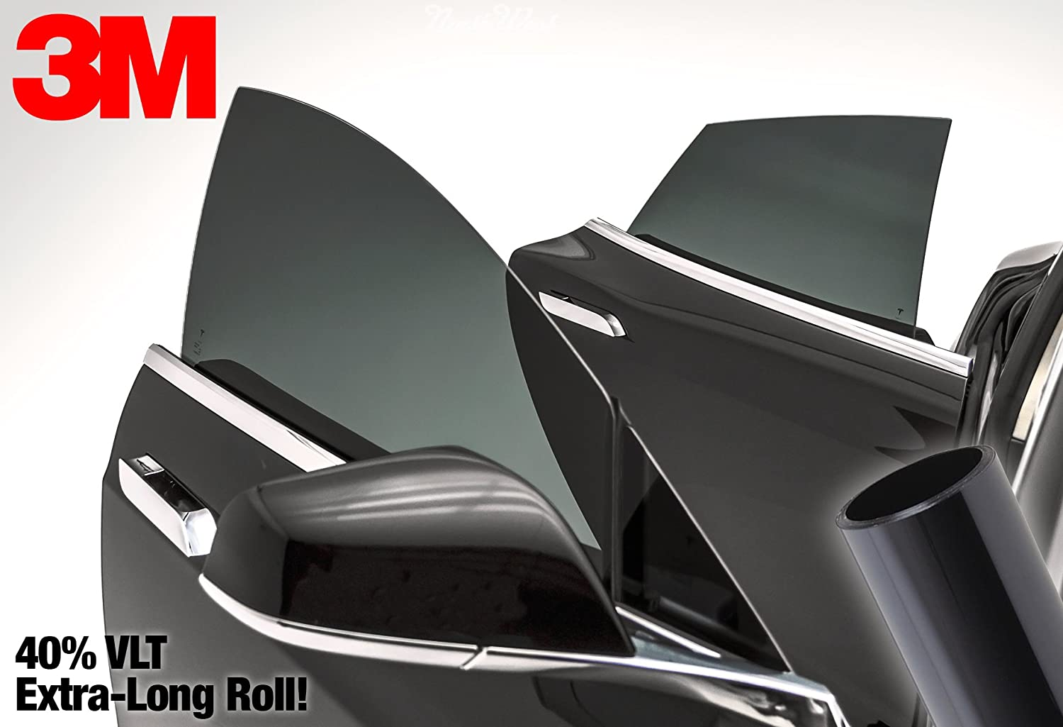 29 Inch x 48 Inch 2 Roll Pack 3M 40/% VLT Medium Dark Smoke Black Car Window Tint Vinyl Wrap Roll