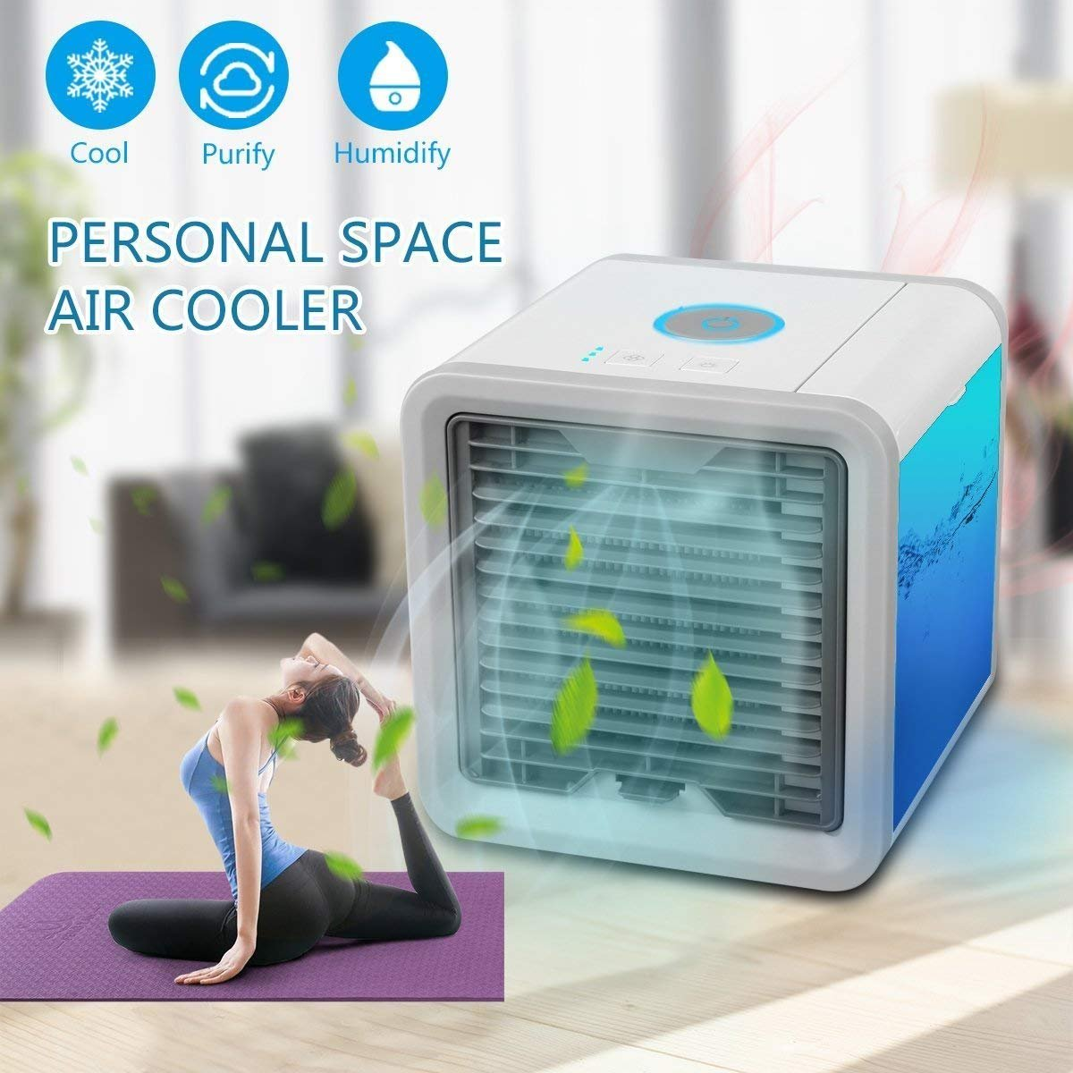 Arctic Air Portable Air Conditioner - Mini Air Conditioner Fan 3 in 1 USB Air Cooler Personal Air Purifier Humidifier with 7 Colors LED Lights Cooling Desktop Fan for Home Office Bedroom (White) HBVAN