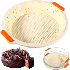 Upgraded Silicone Cake Pan 10 inch, Non-Stick Round Cake Baking Mold,Bakeware Cake Molds with reinforced Stainless Steel frame inside,Reusable Baking Pans Food-Grade, BPA Free