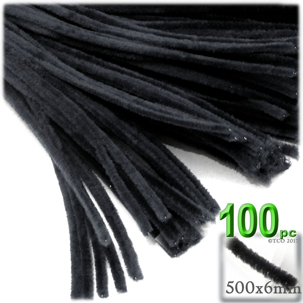 The Crafts Outlet Chenille Stems, Pipe Cleaner, 20-inch (50-cm), 100-pc, Black