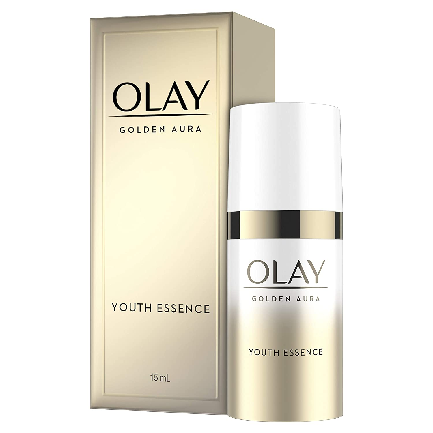 Facial Essence by Olay, Golden Aura Youth Face Serum, Korean Inspired Skincare with Vitamin B3, 0.5 Fl Oz, Trial Size
