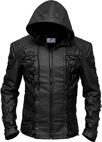 Figura Fashionz Stephen Amell Roy Harper Arrow Lambskin Leather Jacket in Black Super Hero Genuine Leather Jacket