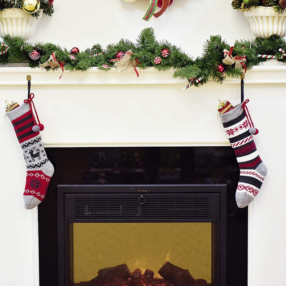 Tarjeta de Nombre 21in//53cm Calcetines de Navidad Plata Decoraci/ón de Regalo Navidad Invierno Congelado Adornos de Navidad Tela con Piel Sint/ética Valery Madelyn 2pcs Medias de Navidad