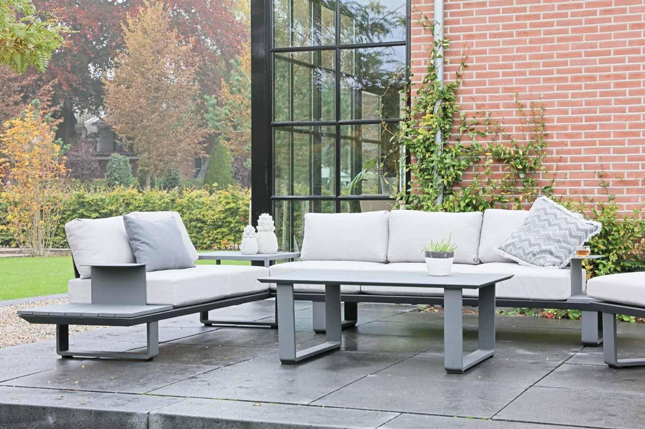 3-teiliges Lounge-Set, Loungeset, Loungemöbel, Gartenloungemöbel, Gartengarnitur, Loungebank, Loungetisch, Loungesofa, Aluminium, anthrazit, Kissen