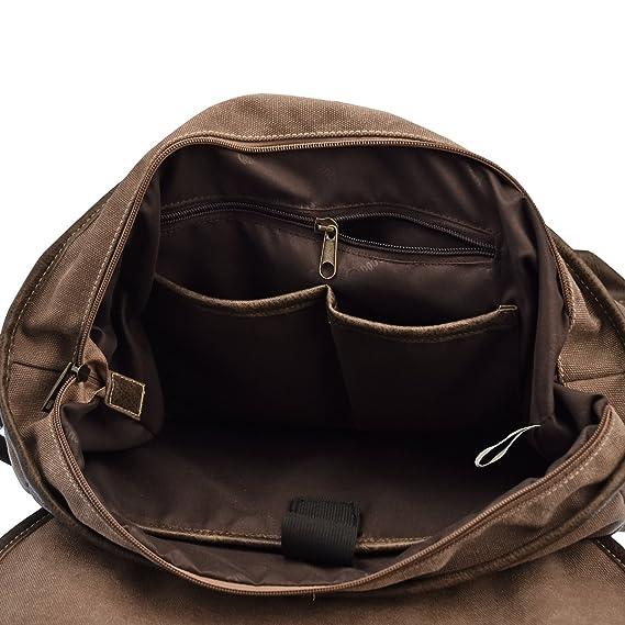 6f87788e60 Lt Tribe Men s Canvas Messenger Bag Shoulder Laptop Bag College Bag  Briefcase Brown G00260  Amazon.ca  Electronics