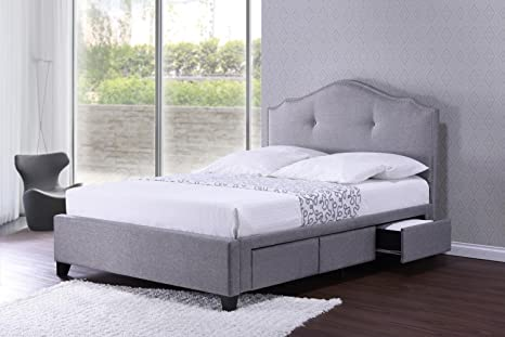 online store 75c4c 4cdff Baxton Studio BBT6329-Queen-Grey Armeena Linen Modern Storage Bed with  Upholstered Headboard, Queen, Grey