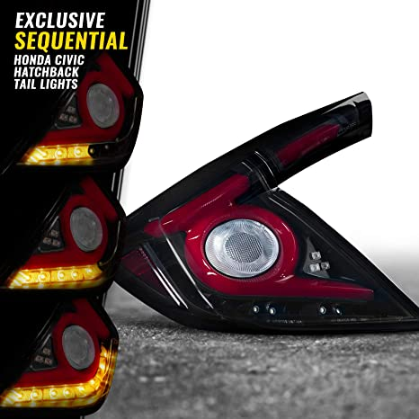 Opt7 Sequential Led Tail Light Lamps Smoked For 16 19 Honda Civic Hatchback With Oled