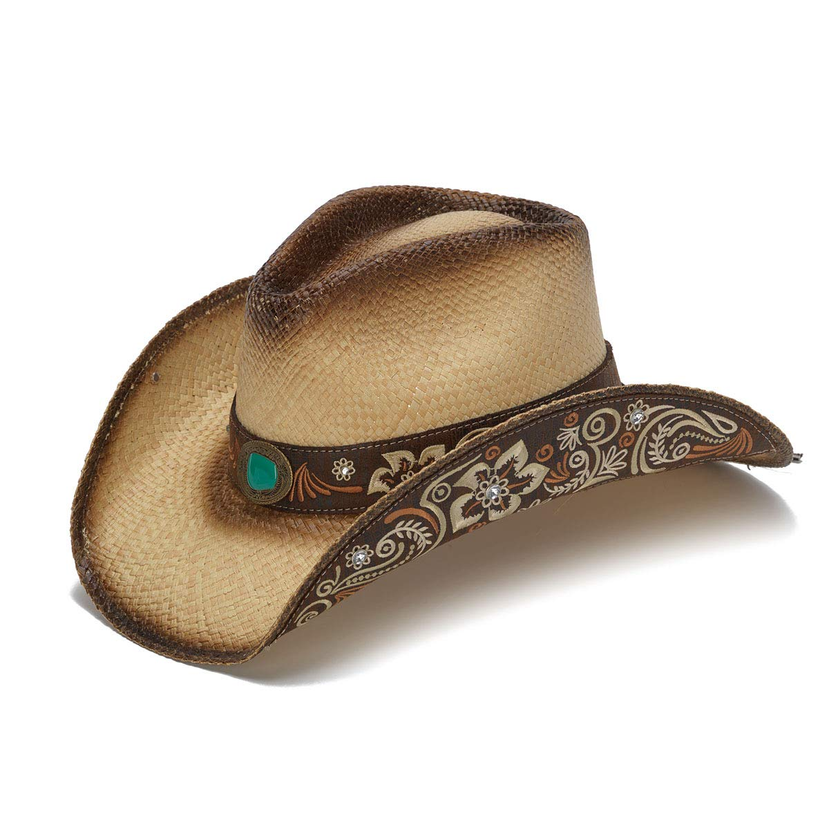 Stampede Hats Women's Sky Action Floral Embroidered Western Hat M Tea Stain by Stampede Hats