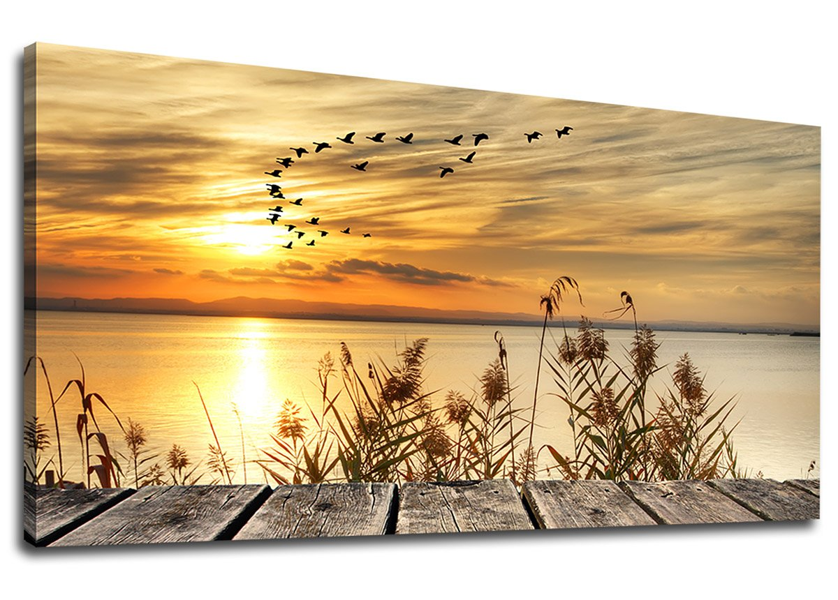 "yearainn Canvas Wall Art Sunset Lake Dock Fall Nature Picture 24"" x 48"" Old Wooden Bridge Reeds Birds Flying Shore Dusk Landscape Canvas Artwork for Bedroom Living Room Home Kitchen Office Wall Decor"