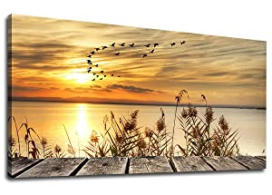 """yearainn Canvas Wall Art Sunset Lake Dock Fall Nature Picture 24"""" x 48"""" Old Wooden Bridge Reeds Birds Flying Shore Dusk Landscape Canvas Artwork for Bedroom Living Room Home Kitchen Office Wall Decor"""
