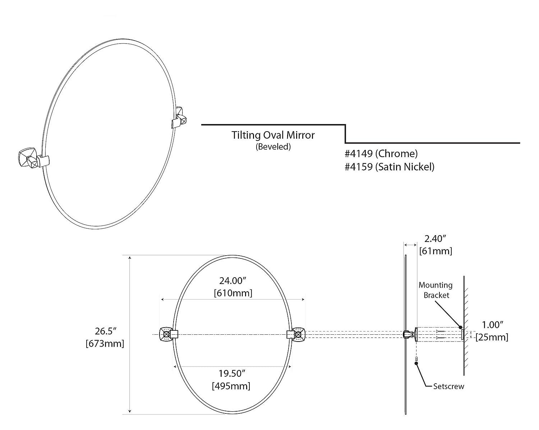 Satin Nickel Gatco 4159SM Jewel Frameless Rectangle Mirror 24H