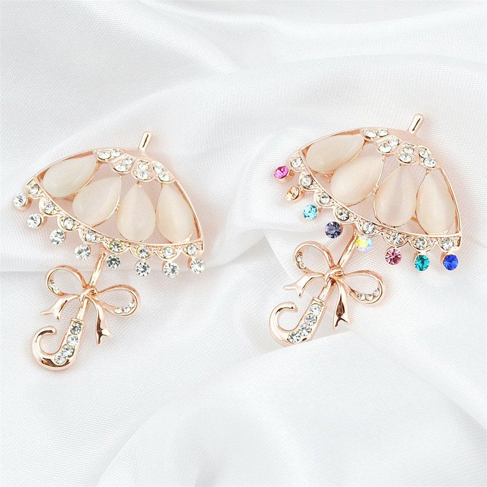Color/é Blanc Joielavie Broche Pins Parapluie N/œud Papillon Chatoyant Diamant Simul/é Strass Plaqu/é Or Rose Alliage Bijoux Fantaisie Ing/énieuse Cadeau Anniversaire Soir/ée Femme Fille
