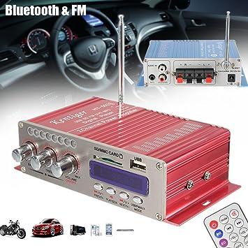 Amplificador de Coche , MENGGOOD 12V Mini Hi-Fi Amplificadores Estéreo Bluetooth Digital AMP Audio