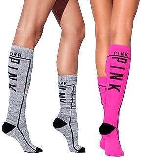 2d661fd80 Victoria s Secret PINK Knee High Socks Ruby Marl   White Love Pink ...