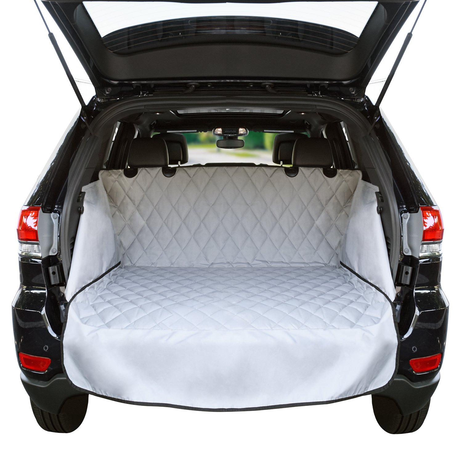 Cargo Liner For SUV's and Cars, Waterproof Material, non Slip Backing, With Side Walls Protectors, Extra Bumper Flap Protector, Large Size - Universal Fit by Jumbl Pet (Image #1)