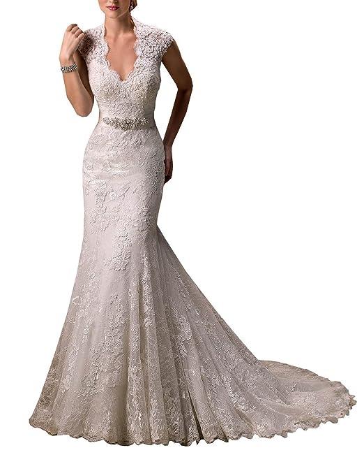 LYDIAGS - Vestido de novia - sujetador bandeau - Manga corta - Mujer Blanco blanco 36