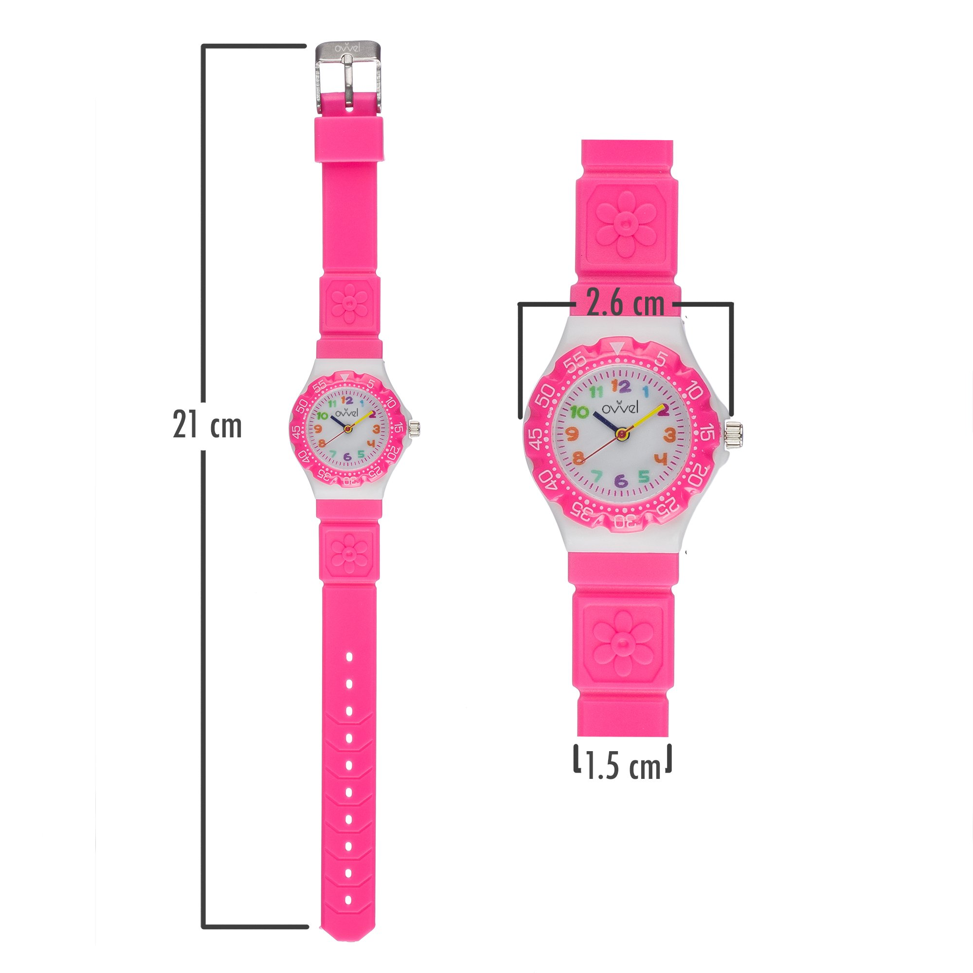 Ovvel Kids Watches, Wrist Watch for Little Girls, Beautiful & Adorable Time Teacher Watch, Innovative Easy–to–Read Design with Japanese Movement & Sony Battery, Gift for Little Girls - Pink by Ovvel (Image #4)