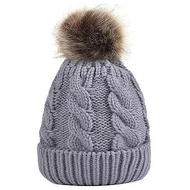 63d8f007f Zoylink Beanie Hat Decorative Pom Pom Winter Warm Hat Knitted Cap for Women