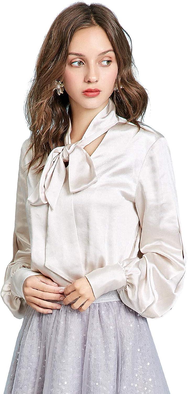 Artka Womens Silver V Neck Bow Tie Button Down Shirt