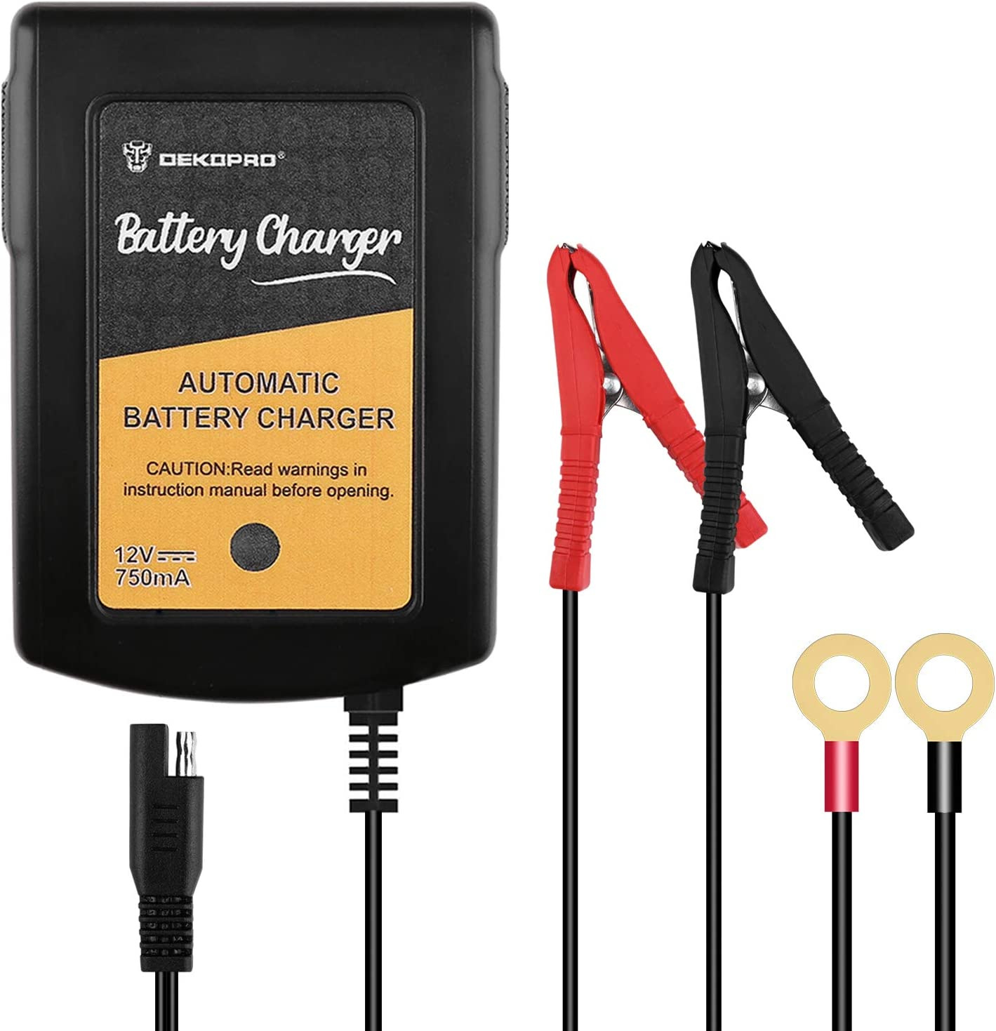 DEKOPRO Battery Charger 12V, 0.75A Smart Charger Battery Maintainer Charger