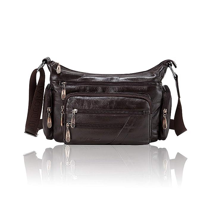 Women/'s Premium Genuine Leather Organizer Purse Ladies Crossbody Shoulder Bag
