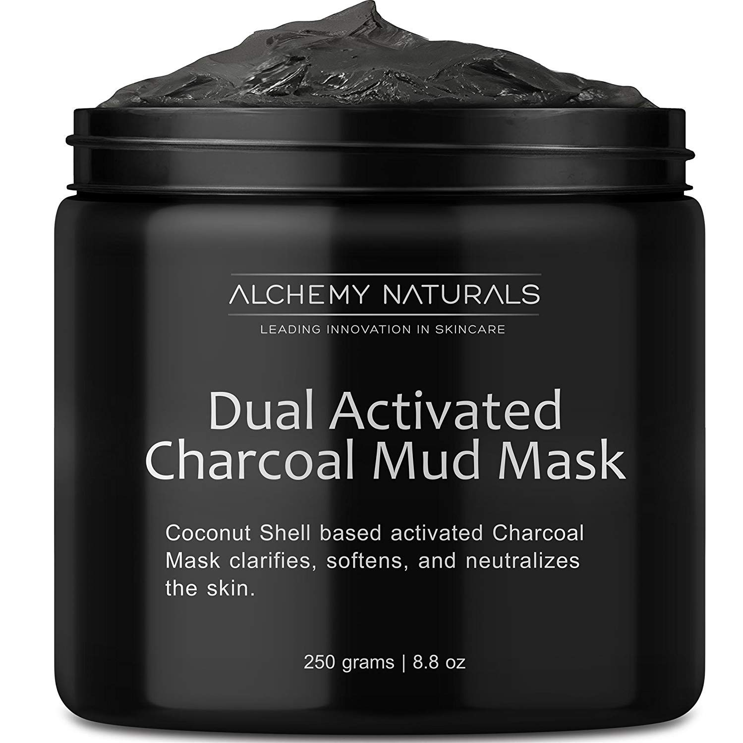 Alchemy 100% Natural Premium Spa Quality Dual Activated Age Defying Charcoal Mud Mask Facial Treatment Cleanser Minimizer for, Acne, Blackheads, Scars, Cellulite - 8.8oz by Alchemy