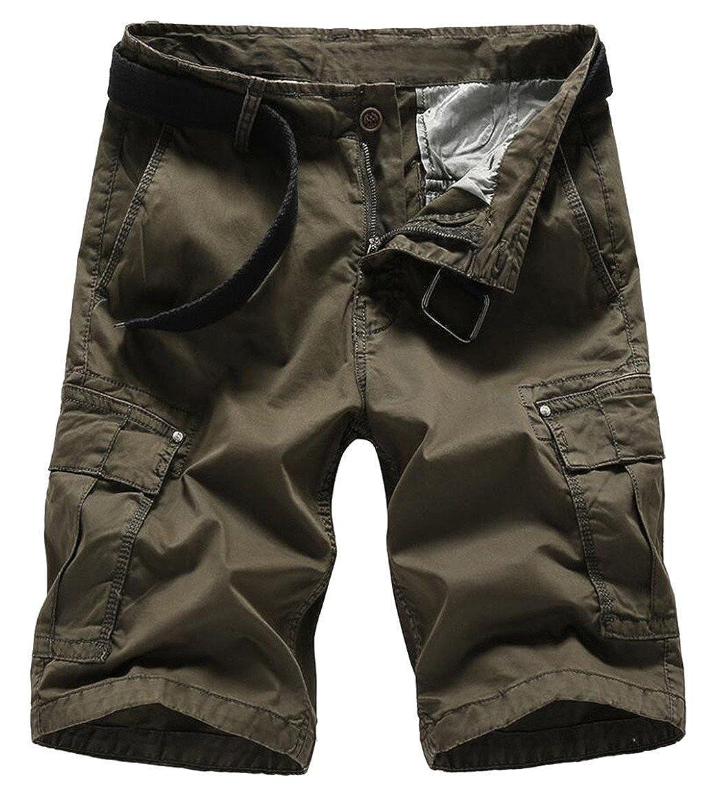 heymoneyMen heymoney Men Classic Casual Pockets Cotton Army New Short Pants