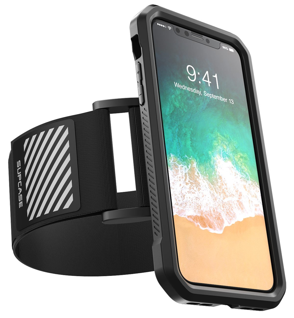 SUPCASE iPhone X, iPhone Xs Armband, SUPCASE Easy Fitting Sport Running Armband Case for Apple iPhone X 2017/iPhone XS 2018 Release (Black) by SupCase